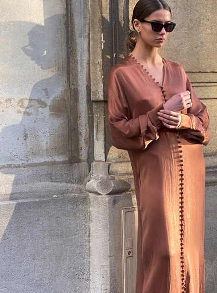 Envelope 1976 cannes button down dress in bronze